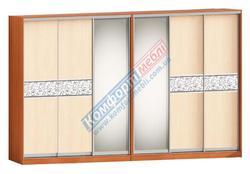 Шкаф-купе Софт 6Д зеркало и ЛДСП+вставка зеркало с рисунком