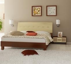 Кровать Виола (ваниль-вишня бюзум) мягкая спинка +2 тумбы