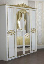 Шкаф Ева (белый глянец-золото)