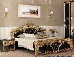 Кровать Реджина (черный глянец-золото)
